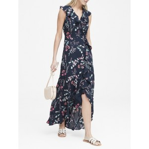 Petite Floral Ruffle-Wrap Maxi Dress
