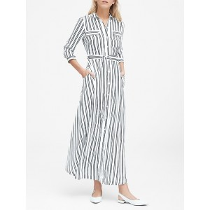 Petite Stripe Maxi Shirt Dress