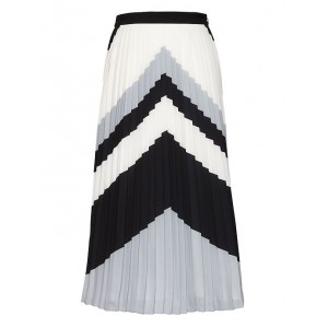 Chevron Pleated Midi Skirt