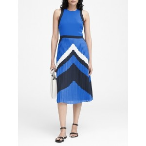 Petite Chevron Pleated Midi Dress