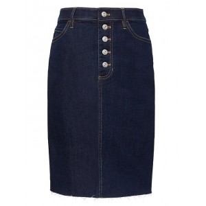 Button-Fly Denim Skirt