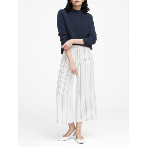 Petite High-Rise Wide-Leg Cropped Pant