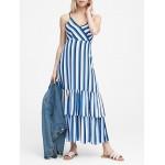 Petite Stripe Tiered Maxi Dress