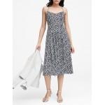 Petite Floral Pin-tuck Midi Dress