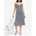 Petite Floral Pin-tuck Midi Dress