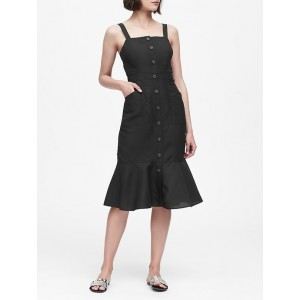 Petite Linen-Blend Button-Front Dress
