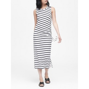 Petite Stripe Ruched Midi Dress