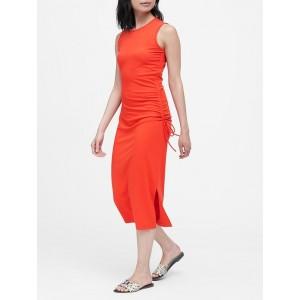 Petite Ruched Midi Dress