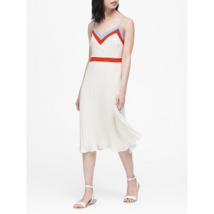 Color-Block Pleated Midi Dress
