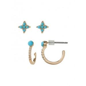 Micro Fine Hoop Stud Earrings Set
