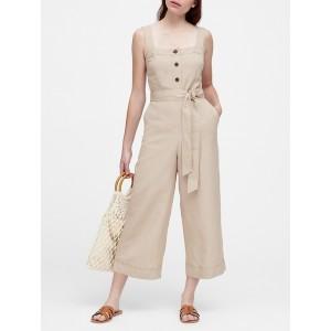 Petite Linen-Blend Cropped Jumpsuit