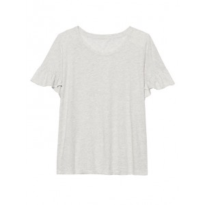 Slub Cotton-Modal Ruffled T-Shirt