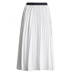 Petite Stripe Pleated Midi Skirt