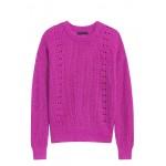 Pointelle-Knit Fuzzy Sweater