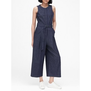 Petite Denim Wide-Leg Cropped Jumpsuit
