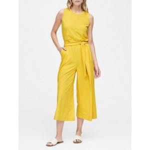 Petite Soft Ponte Cropped Wide-Leg Jumpsuit