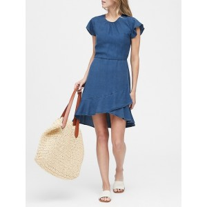 Petite TENCEL™ Flutter-Sleeve Mini Dress