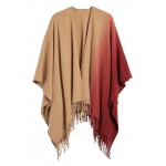 Ombre Wool-Blend Poncho