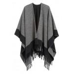 Reversible Wool-Blend Poncho