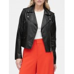 Petite Vegan Leather Moto Jacket