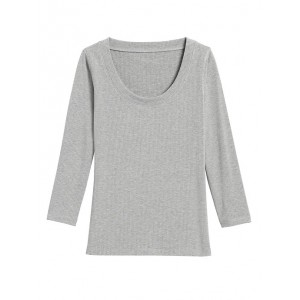 Ribbed Scoop-Neck T-Shirt