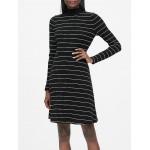 Ribbed Mock-Neck Mini Dress