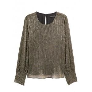 Petite Metallic Smocked-Sleeve Blouse