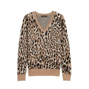 Petite Leopard V-Neck Sweater