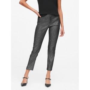 Modern Sloan Skinny-Fit Metallic Plaid Pant