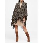 Leopard Wool-Blend Poncho