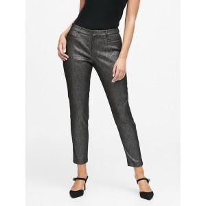 Curvy Sloan Skinny-Fit Metallic Plaid Pant