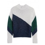 Metallic Color-Block Cropped Sweater