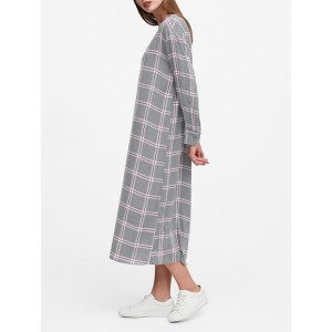 JAPAN EXCLUSIVE Flannel Oversized Button-Back Dress
