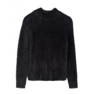 Petite Cropped Fuzzy Sweater