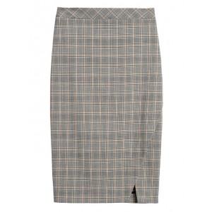 Plaid Bi-Stretch Pencil Skirt
