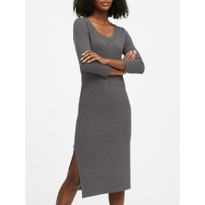 Scoop-Neck Ribbed T-Shirt Dress