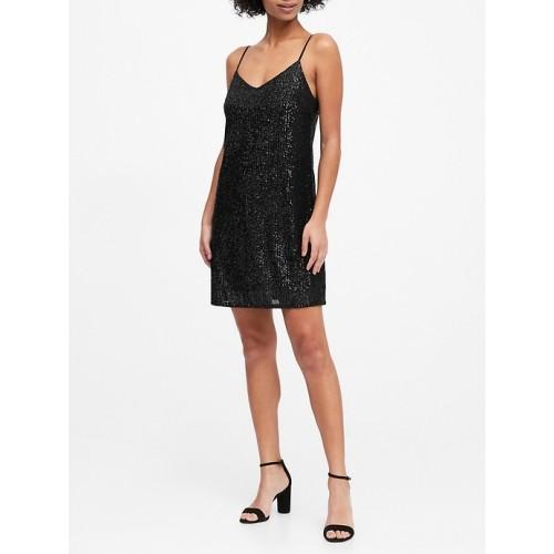 바나나리퍼블릭 Petite Sequin Slip Dress