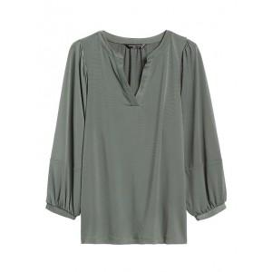 Blouson-Sleeve Popover Top