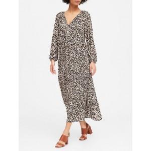 Petite Leopard Tiered Maxi Dress