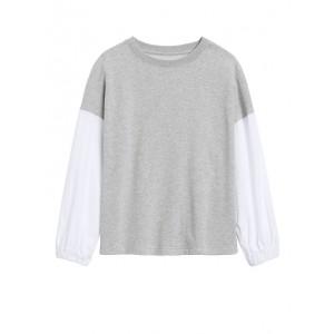 JAPAN EXCLUSIVE Poplin-Sleeve Sweatshirt