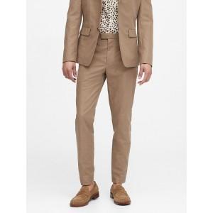 Slim Tapered Italian Cotton-Linen Suit Pant