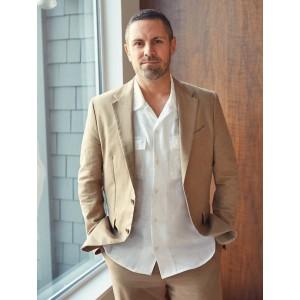 Slim Italian Cotton-Linen Suit Jacket