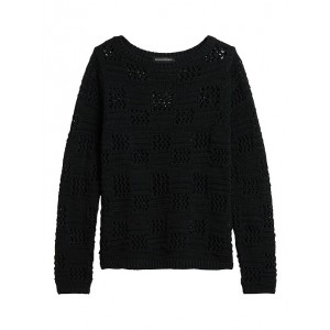 Petite Pointelle Boat-Neck Sweater