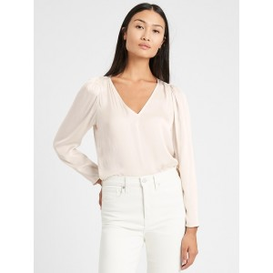 Soft Satin Puff-Sleeve Top