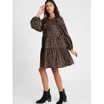Print Satin Tiered Mini Dress
