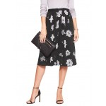 Print Pleated Button-Front Midi Skirt