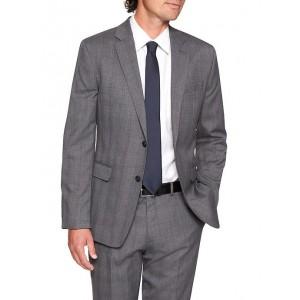 Standard-Fit Stretch Grey Plaid Blazer