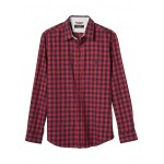 Standard-Fit Red Gingham Lightweight Flannel Shirt