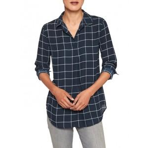 Petite Print Button-Back Boyfriend Shirt