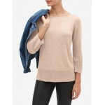 Petite Ottoman Sleeve Boatneck Pullover Sweater